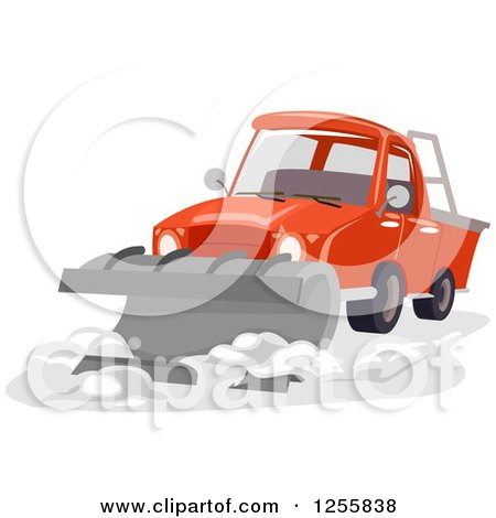 Clipart of a Truck with a Snow Plow - Royalty Free Vector ...