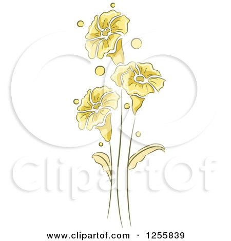 Clipart of Yellow Flowers Leaves and Stems - Royalty Free Vector Illustration by BNP Design Studio