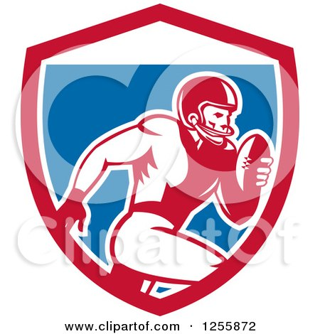 Clipart of a Retro American Football Player Running in a Shield - Royalty Free Vector Illustration by patrimonio