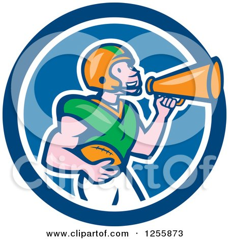 Clipart of a Cartoon American Football Player Using a Megaphone in a Blue Circle - Royalty Free Vector Illustration by patrimonio
