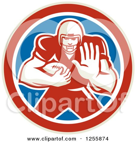 Clipart of a Retro American Football Player Fending off in a Red White and Blue Circle - Royalty Free Vector Illustration by patrimonio