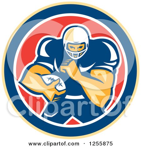 Clipart of a Retro American Football Player in a Red White and Blue Circle - Royalty Free Vector Illustration by patrimonio