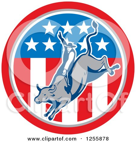 Clipart Of A Retro Rodeo Cowboy On A Bull In An American Flag Circle Royalty Free Vector Illustration