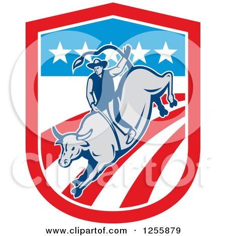 Clipart of a Retro Rodeo Cowboy on a Bull in an American Flag Shield - Royalty Free Vector Illustration by patrimonio