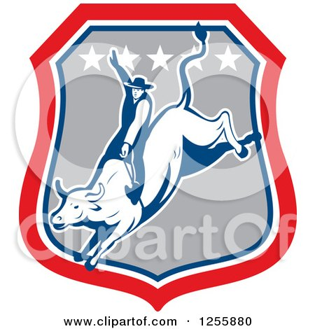 Clipart of a Retro Rodeo Cowboy on a Bull in a Shield - Royalty Free Vector Illustration by patrimonio