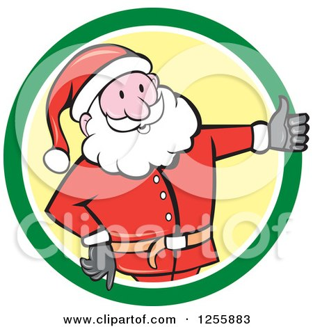 Clipart of a Cartoon Santa Holding a Thumb up in a Green and Yellow Circle - Royalty Free Vector Illustration by patrimonio