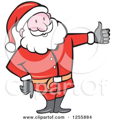 Clipart of a Cartoon Santa Holding a Thumb up - Royalty Free Vector Illustration by patrimonio