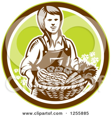 Clipart of a Retro Woodcut Female Farmer Holding a Basket of Produce in a Circle - Royalty Free Vector Illustration by patrimonio