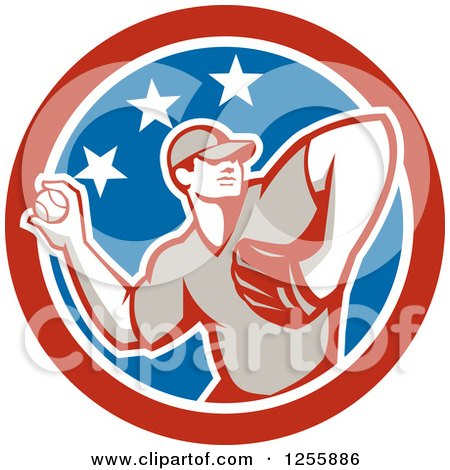 Clipart of a Retro Male Baseball Player Pitching in an American Circle - Royalty Free Vector Illustration by patrimonio
