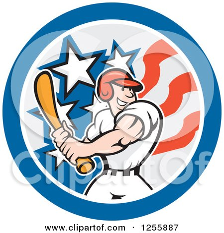 Clipart of a Cartoon Male Baseball Player Batting in an American Circle - Royalty Free Vector Illustration by patrimonio