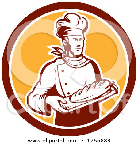 Clipart of a Retro Woodcut Male Baker with Bread in a Circle - Royalty Free Vector Illustration by patrimonio