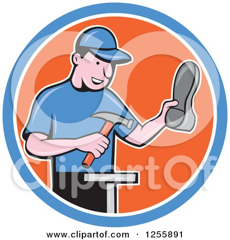 Clipart of a Cartoon Male Shoe Maker Cobbler Working in a Blue White and Orange Circle - Royalty Free Vector Illustration by patrimonio