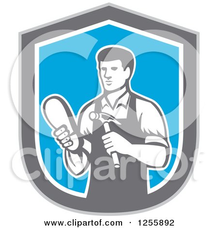 Clipart of a Retro Male Shoemaker in a Blue Gray and White Shield - Royalty Free Vector Illustration by patrimonio