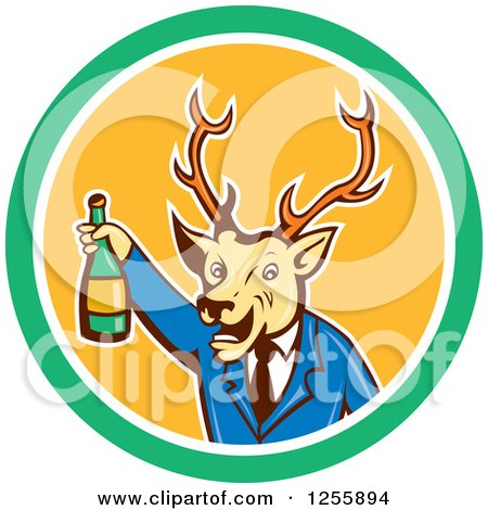 Clipart of a Cartoon Deer Businessman Cheering with Wine in a Circle - Royalty Free Vector Illustration by patrimonio