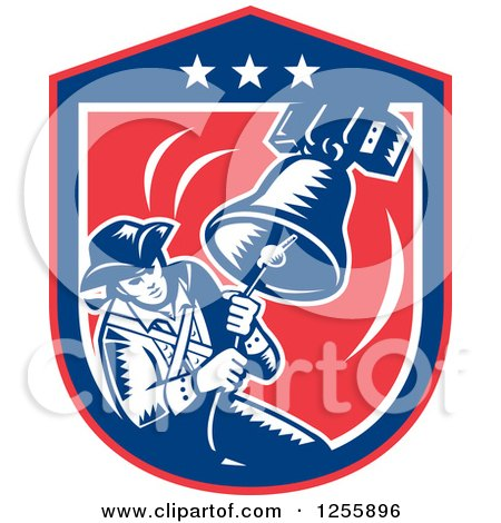 Clipart of a Retro Woodcut Patriot Ringing a Liberty Bell in an American Shield - Royalty Free Vector Illustration by patrimonio