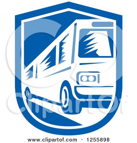 Clipart of a Retro Woodcut Bus in a Shield - Royalty Free Vector Illustration by patrimonio