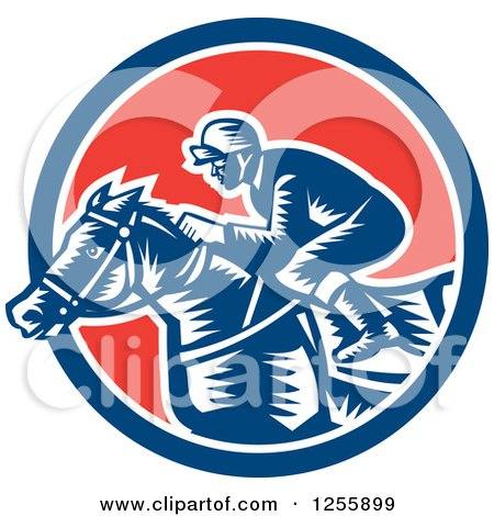 Clipart of a Retro Woodcut Jockey Racing a Horse in a Red White and Blue Circle - Royalty Free Vector Illustration by patrimonio