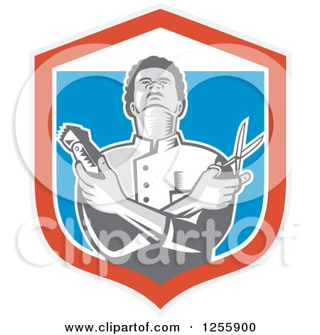 Clipart of a Retro Woodcut Barber Holding Scissors and Clippers in a Shield - Royalty Free Vector Illustration by patrimonio
