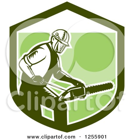 Clipart of a Retro Woodcut Arborist Using a Chainsaw in a Green Shield - Royalty Free Vector Illustration by patrimonio