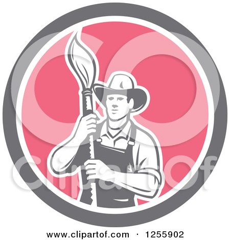 Clipart of a Retro Housepainter with an Art Paintbrush in a Circle - Royalty Free Vector Illustration by patrimonio