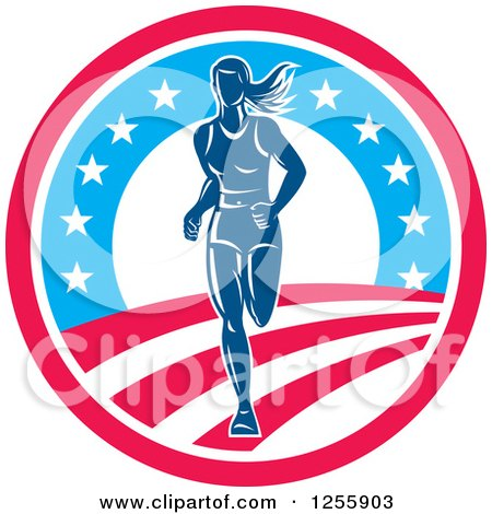 Clipart of a Female Marathon Runner in an American Circle - Royalty Free Vector Illustration by patrimonio