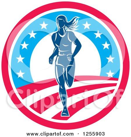Female Marathon Runner in an American Circle Posters, Art Prints