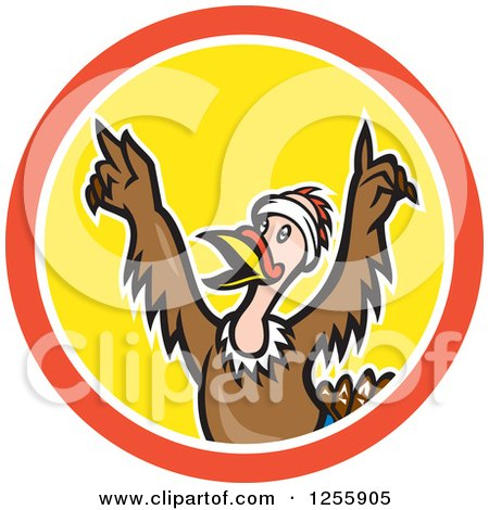 Clipart of a Cartoon Victorious Turkey Bird Cheering in a Circle - Royalty Free Vector Illustration by patrimonio