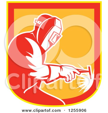 Clipart of a Retro Welder Working in a Red Yellow and Orange Shield - Royalty Free Vector Illustration by patrimonio