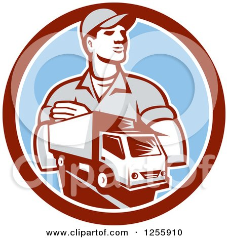 Clipart of a Retro Delivery Man and Truck in a Circle - Royalty Free Vector Illustration by patrimonio