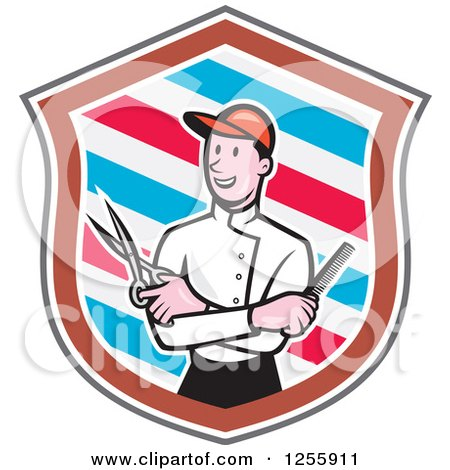 Clipart of a Cartoon Male Barber with Scissors and a Comb in a Striped Shield - Royalty Free Vector Illustration by patrimonio