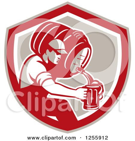 Clipart of a Retro Male Bartender Pouring Beer from a Keg in a Shield - Royalty Free Vector Illustration by patrimonio
