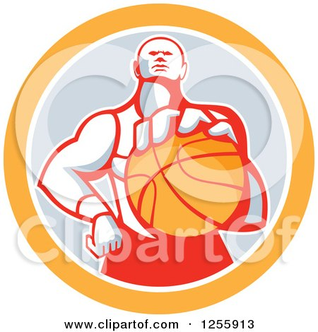 Clipart of a Retro Basketball Player Holding out a Ball in a Gray and Orange Circle - Royalty Free Vector Illustration by patrimonio