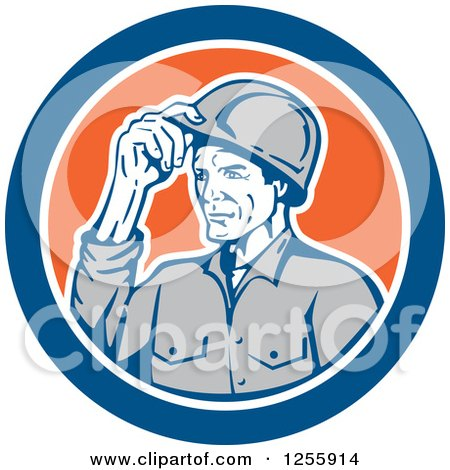 Clipart of a Retro Male Builder Tipping His Hardhat in a Blue and Orange Circle - Royalty Free Vector Illustration by patrimonio