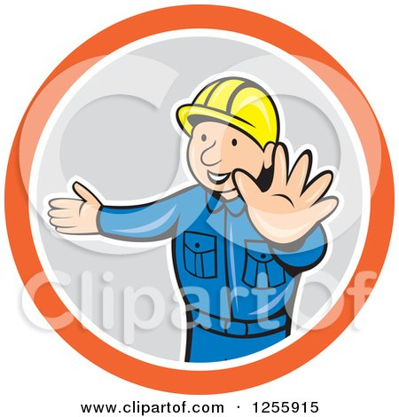 Clipart of a Cartoon Construction Worker Directing Traffic - Royalty Free Vector Illustration by patrimonio
