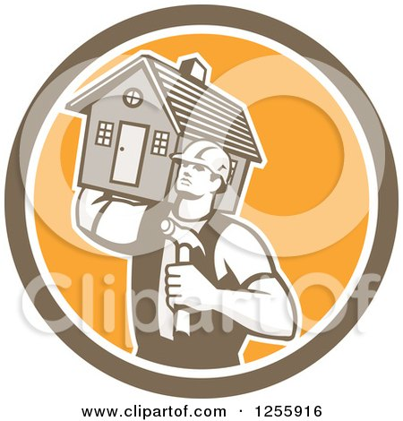 Clipart of a Retro Male Home Builder Carrying a House and Hammer in a Circle - Royalty Free Vector Illustration by patrimonio