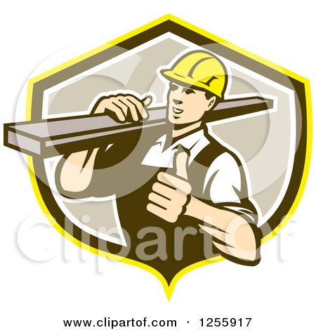 Clipart of a Retro Male Carpenter Holding a Thumb up and Carrying Lumber in a Shield - Royalty Free Vector Illustration by patrimonio
