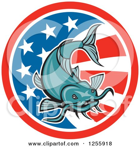 Clipart of a Cartoon Catfish over an American Flag Circle - Royalty Free Vector Illustration by patrimonio