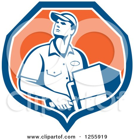 Clipart of a Retro Male Delivery Man Delivering in a Shield - Royalty Free Vector Illustration by patrimonio