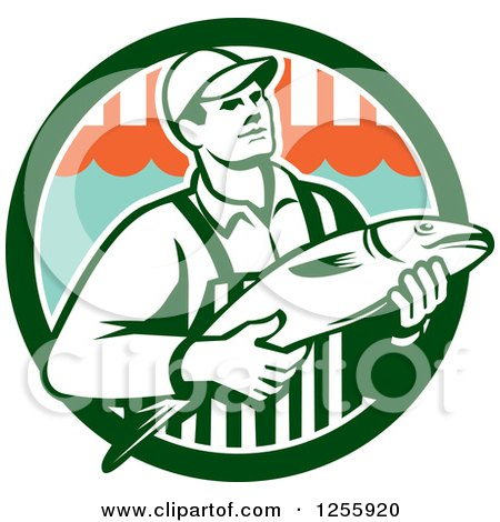 Clipart of a Retro Fishmonger in a Market Circle - Royalty Free Vector Illustration by patrimonio