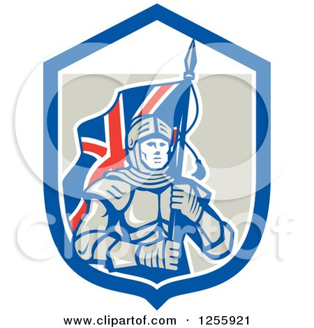 Clipart of a Retro Knight with a Union Jack Flag in a Shield - Royalty Free Vector Illustration by patrimonio