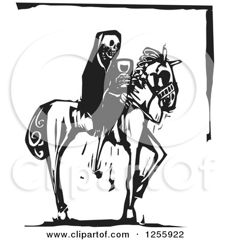 Clipart of a Black and White Woodcut Death Skeleton on Horseback with Wine - Royalty Free Vector Illustration by xunantunich