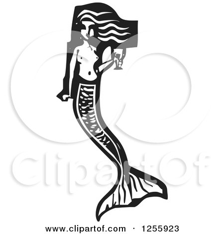 Black and White Woodcut Mermaid with a Goblet of Wine Posters, Art Prints