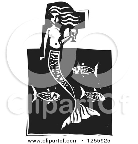 Clipart of a Black and White Woodcut Mermaid with a Goblet of Wine over Fish - Royalty Free Vector Illustration by xunantunich