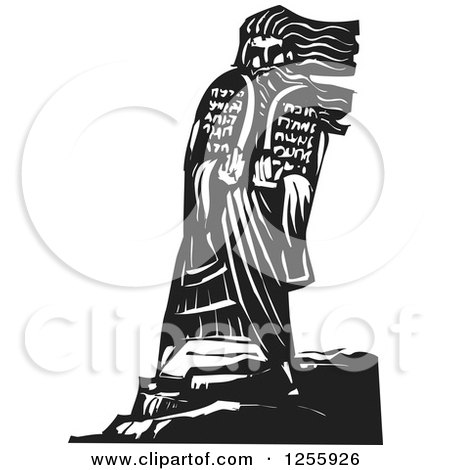 Clipart of a Black and White Woodcut Scene of Moses Bringing the Ten Commandments down from the Mountain - Royalty Free Vector Illustration by xunantunich