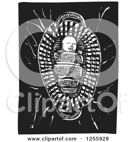 Clipart of a Black and White Woodcut Baby Prophet Moses in a Basket - Royalty Free Vector Illustration by xunantunich