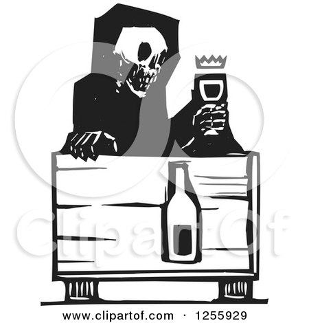 Clipart of a Black and White Woodcut Death Skeleton with Wine at a Table - Royalty Free Vector Illustration by xunantunich