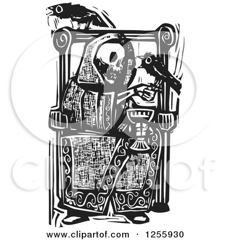 Clipart of a Black and White Woodcut Death Skeleton Drinking Wine with Ravens at a Throne - Royalty Free Vector Illustration by xunantunich