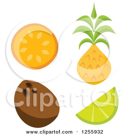 Clipart of a Tiki Style Tropical Orange Coconut Lime and Pineapple Fruits - Royalty Free Vector Illustration by Amanda Kate