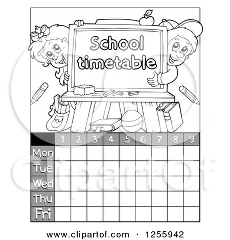 Clipart of a Grayscale School Timetable with Children and a Chalkboard - Royalty Free Vector Illustration by visekart