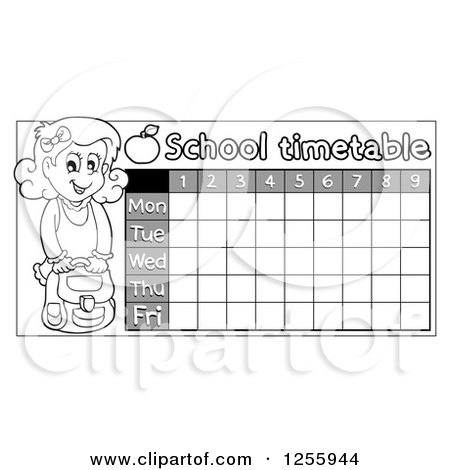 Clipart of a Grayscale School Timetable with a Girl - Royalty Free Vector Illustration by visekart